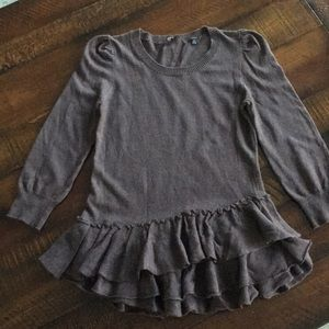 Anthropology Knitted & Knotted Ruffled Sweater.